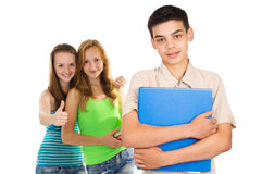 Students boy and girl. Isolated Royalty Free Stock Image
