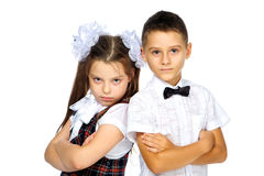 Students boy and girl Stock Photo