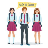 Students boy and girl in school uniform Royalty Free Stock Photos