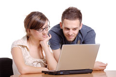 Students browsing the internet Royalty Free Stock Photo