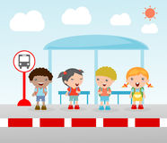 Students at the bus stop, A vector illustration of little children waiting at a bus stop, Waiting at Bus Stop, Vector Illustration Royalty Free Stock Photo