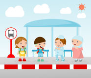 Students at the bus stop, A vector illustration of little children waiting at a bus stop, Waiting at Bus Stop, Vector Illustration Royalty Free Stock Photos