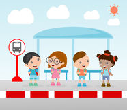 Students at the bus stop, A vector illustration of little children waiting at a bus stop, Waiting at Bus Stop, Vector Illustration Stock Image