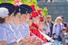 Students of the cadet corps and drummers stand in formation at a Royalty Free Stock Image