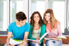 Students in campus. Young group of students in campus Royalty Free Stock Images
