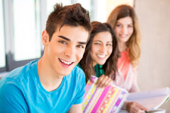 Students in campus Stock Photos