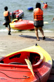Students canoeing activity Royalty Free Stock Photos
