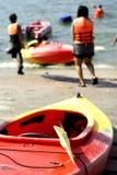 Students canoeing activity Royalty Free Stock Photos
