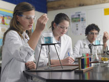 Students Caring Out Experiments In Laboratory Stock Images