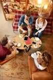 Students chatting on break. From learn in student club- top view royalty free stock photos