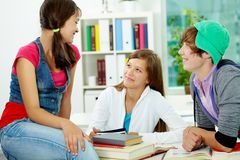 Students chatting stock photography