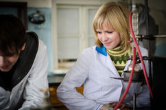 Students of chemical department Stock Photos