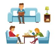 Students children in library reading books, people in bookshop vector flat design vector illustration