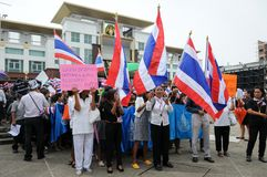 Students and citizens march. Disagreed with the government's amnesty legislation Thailand Royalty Free Stock Photos