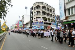 Students and citizens march. Disagreed with the government's amnesty legislation Thailand Royalty Free Stock Image