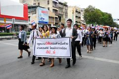 Students and citizens march. Disagreed with the government's amnesty legislation Thailand Stock Photography