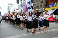 Students and citizens march. Disagreed with the government's amnesty legislation Thailand Stock Photos