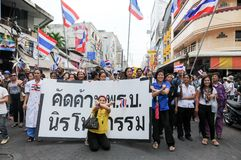 Students and citizens march. Disagreed with the government's amnesty legislation Thailand Stock Images