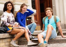 Students in a city Stock Photo