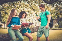 Students in a city park Stock Photography
