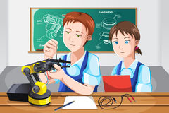 Students in class. A vector illustration of students building a robot in class Royalty Free Stock Photos