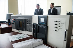 Students in the class of electrical equipment  Schneider Electric Royalty Free Stock Images