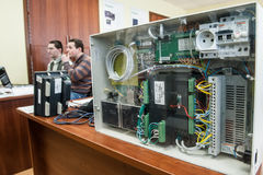 Students in the class of electrical equipment  Schneider Electric Royalty Free Stock Photos
