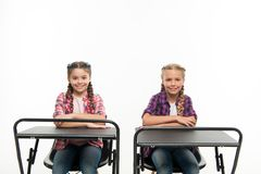 Students classmates sit desk. Back to school. Private school concept. Individual schooling. Elementary school education. Enjoy process of studying. Little stock images