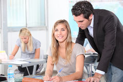 Students in classroom Stock Photo