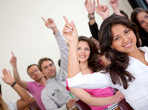 Students in a classroom - rising hand Stock Photos