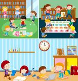 Students at the classroom vector illustration