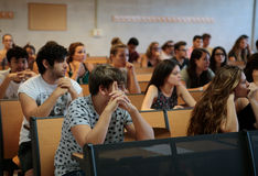 Students in classroom during their final summer exam Royalty Free Stock Photo