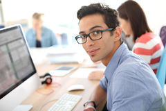 Students in classroonm using computer Royalty Free Stock Photo