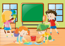 Students cleaning classroom together vector illustration