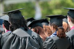 Students at commencement. Group of students listening and waiting at commencement Royalty Free Stock Images