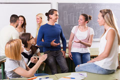 Students communication in the classroom Royalty Free Stock Image