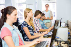 Students in computer class Stock Photos