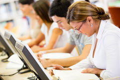 Students at a computer room Royalty Free Stock Photography