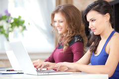 Students with computers Royalty Free Stock Images