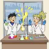 Students conduct a chemical experiment. The experiment failed. vector illustration