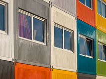 Students containers. Students living in cargo containers Stock Photo