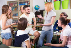 Students conversation in the classroom Royalty Free Stock Image
