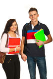 Students couple going to school Stock Images