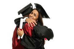 Students couple hugging Stock Images