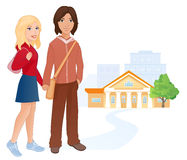 Students couple. Illustration of a cute students couple Royalty Free Stock Images
