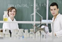 Students Couple In Lab Stock Photography