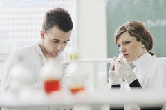 Students couple in lab Stock Photos