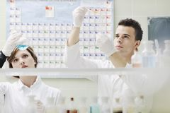 Students couple in lab Stock Photo