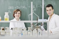 Students couple in lab Stock Images