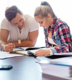 Students couple preparing for exams Stock Photo